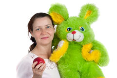 The woman with a soft toy Royalty Free Stock Images