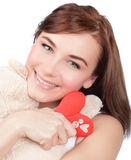 Woman with soft toy Stock Images