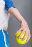 Woman with softball Royalty Free Stock Photo