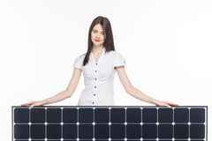 Woman with solar panel Royalty Free Stock Image