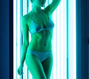 Woman in solarium Royalty Free Stock Photos