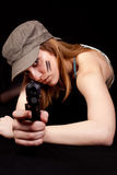 Woman solder with gun Royalty Free Stock Photography