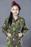 woman soldier with backpack Royalty Free Stock Photo