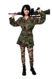 Woman Soldier. Beautiful young woman soldier with a M16 rifle royalty free stock images