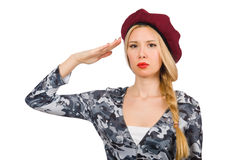 Woman soldier isolated Stock Image