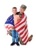 Woman soldier and little kid with American national flag. On white background stock image