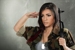 Woman Soldier Saluting Stock Photography