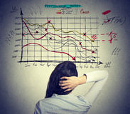Woman solving bad economy problem. Stressful business life. Woman analyst solving bad economy problem. Stressful business life concept royalty free stock images