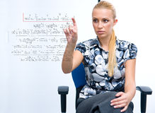 Woman solving math formula Stock Photography