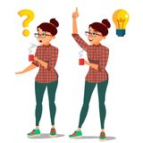 Woman Solving Problem Vector. Problem Solution, Secret Discovery. Career Success. reative Project Idea. Issue, Trouble royalty free illustration