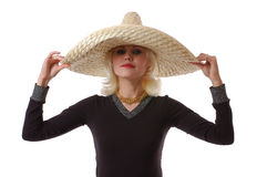 Woman in sombrero Stock Photos