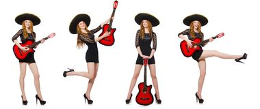 The woman in sombrero hat with guitar Royalty Free Stock Photo