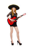 Woman in sombrero hat. With guitar Royalty Free Stock Photos