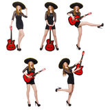 The woman in sombrero hat with guitar Stock Photo