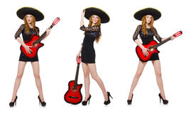 The woman in sombrero hat with guitar Stock Image