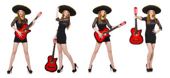 The woman in sombrero hat with guitar Stock Photos
