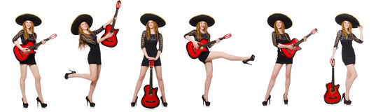 The woman in sombrero hat with guitar Stock Photography