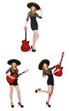 The woman in sombrero hat with guitar Royalty Free Stock Image