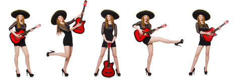 The woman in sombrero hat with guitar Stock Images