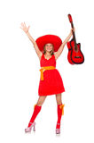 The woman with sombrero playing guitar on white Stock Photography