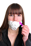 woman with some white shaving foam Royalty Free Stock Photos