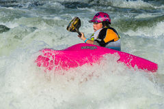 Woman in some white water Royalty Free Stock Photo