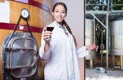 Woman sommelier is tasting wine at wine factory. Woman sommelier is tasting wine at Italian wine factory stock photography