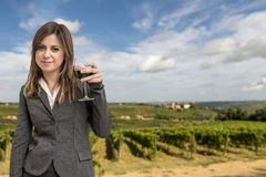 Woman Sommelier in the vineyards Stock Photo
