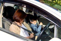 Woman and son in car Royalty Free Stock Photo