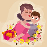 Woman with son for Mother's Day celebration. Royalty Free Stock Photography