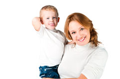 Woman and son sticking Tongues Out. Women and son sticking Tongues Out on white Royalty Free Stock Image