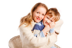 Woman with a son on a white background Stock Images