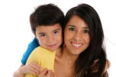 Woman and Son On White Background Royalty Free Stock Photos