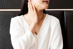 Woman sore neck and .tonsillitis, healthcare and medicine recovery concept stock images