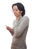 Woman sore throat. Woman with a sore throat, in the hands of tablets stock photo
