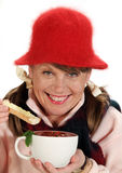 Woman With Soup Stock Images