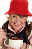 Woman With Soup Royalty Free Stock Images