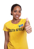 Woman from South Africa showing thumb up. On an isolated white background for cut out Royalty Free Stock Photos