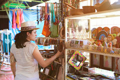 Woman in souvenir shop Stock Photo