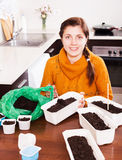 Woman sowing seeds at table Royalty Free Stock Images
