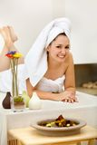 Woman at a spa Stock Images