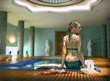 Woman in spa. Beautiful woman in luxury spa interior (Photo compilation. Photo and cg elements combined Royalty Free Stock Photography
