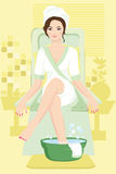 Woman at spa. A  illustration of a woman receiving a spa treatment Royalty Free Stock Photo