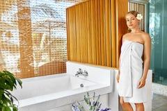 Woman Spa Body Care Treatment. Flower Rose Bath. Beauty, Skincar Royalty Free Stock Photos