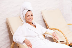 Woman in spa center. stock image