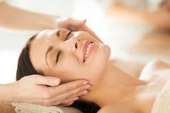 Woman in spa. Close up of woman in spa salon getting face treatment Royalty Free Stock Image