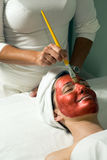 Woman at Spa Getting Facial Mask- Vertical, Side Stock Photo