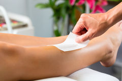 Woman in Spa getting leg waxed Stock Images