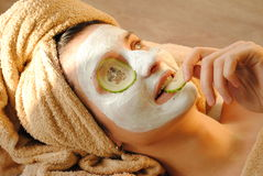Woman spa mask face Royalty Free Stock Images