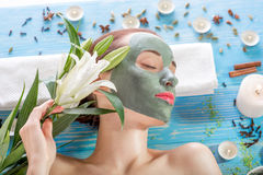 Woman with spa mask Stock Images